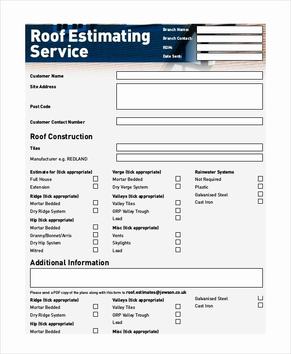 Free Roofing Estimate Template Unique Roofing Estimates Templates Free Download Printable