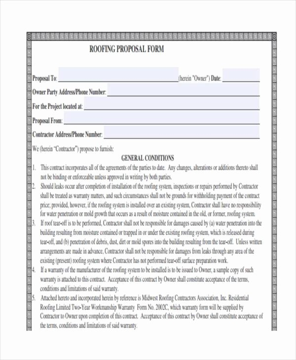 Free Roofing Proposal Template Elegant Blank Proposal forms