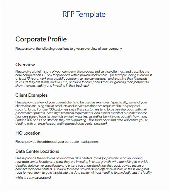 Free Roofing Proposal Template New 9 Rfp Templates for Free Download