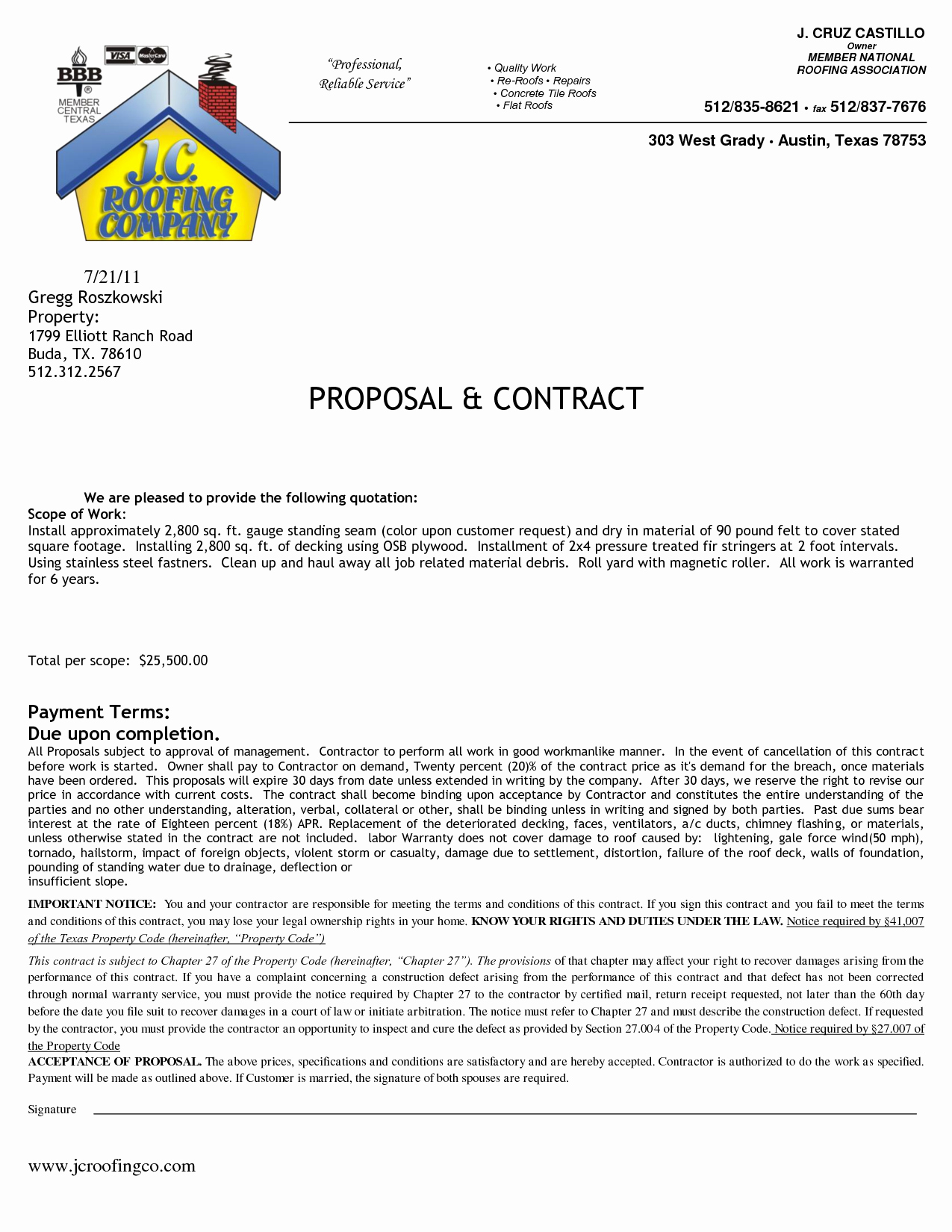 Free Roofing Proposal Template Unique Contract Free Printables Roofing Contract Template