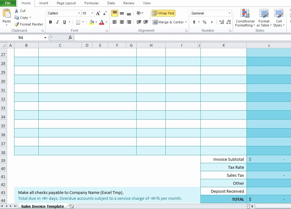 Free Sales Invoice Template Best Of Free Sales Invoice Template for Excel Excel Tmp