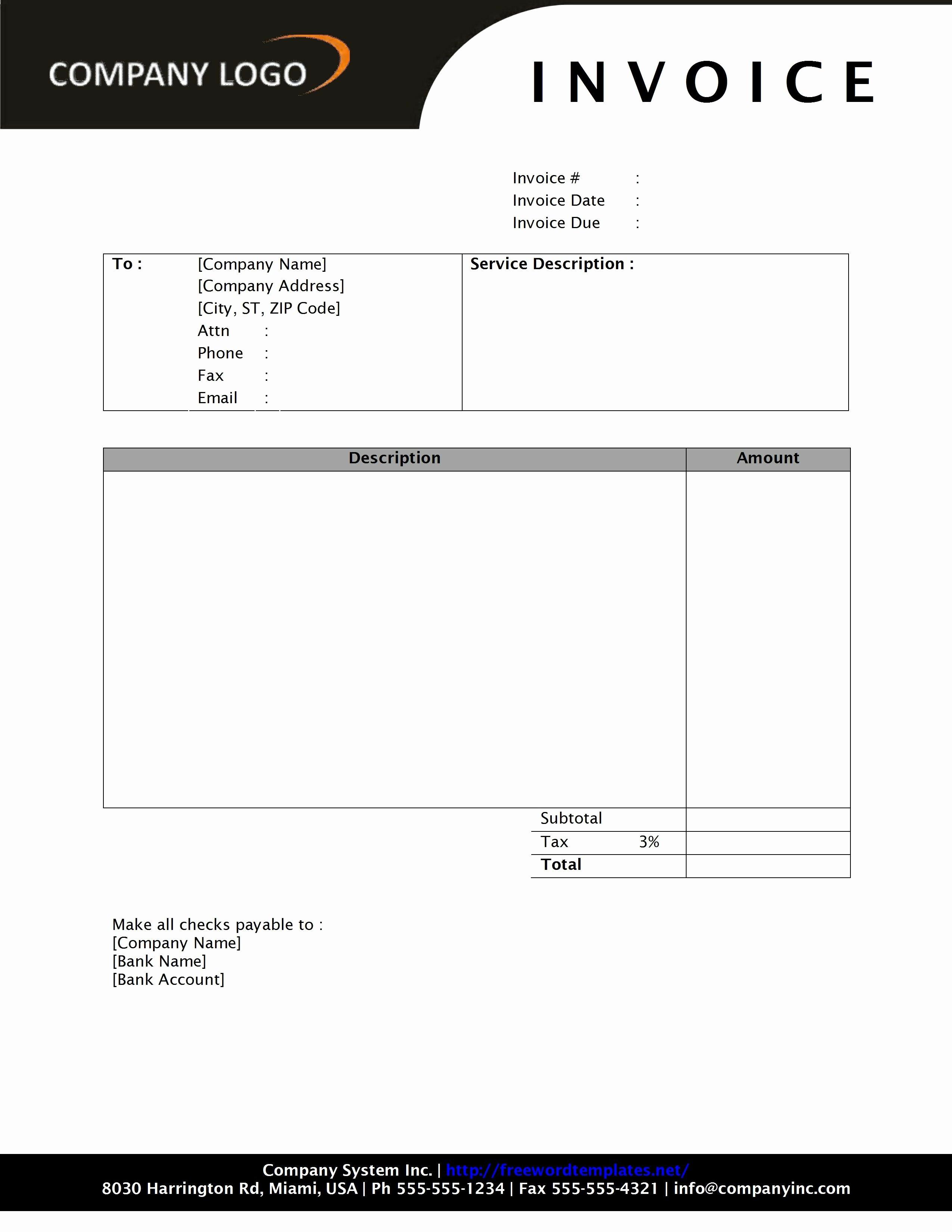 Free Sales Invoice Template Elegant Invoice Template Word 2010