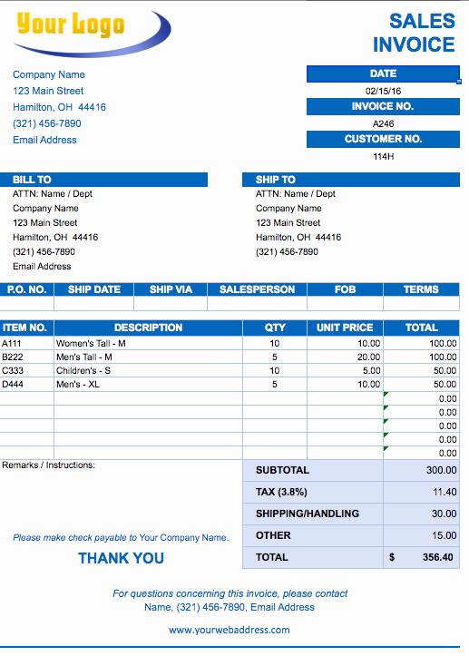 Free Sales Invoice Template Unique Free Excel Invoice Templates Smartsheet