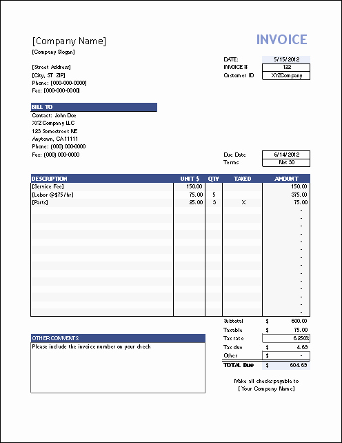 Free Sales Invoice Template Unique Vertex42 Invoice assistant Invoice Manager for Excel
