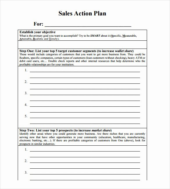 Free Sales Plan Template Inspirational Sample Sales Action Plan 11 Example format
