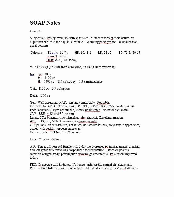 Free soap Note Template Elegant 40 Fantastic soap Note Examples & Templates Template Lab