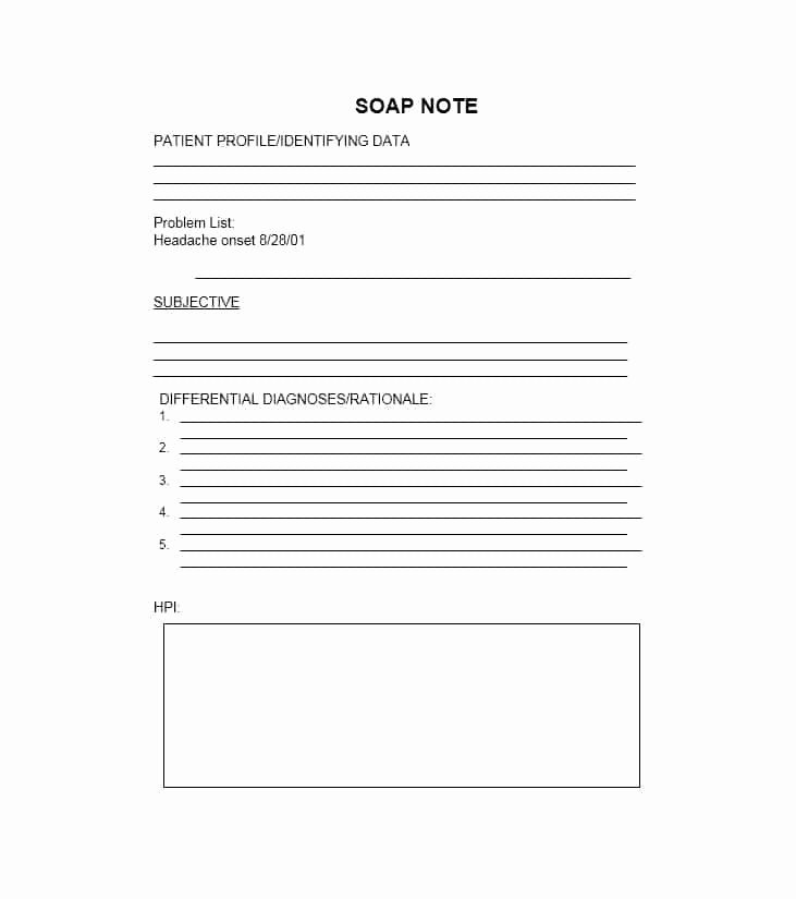 Free soap Note Template Fresh 40 Fantastic soap Note Examples & Templates Template Lab