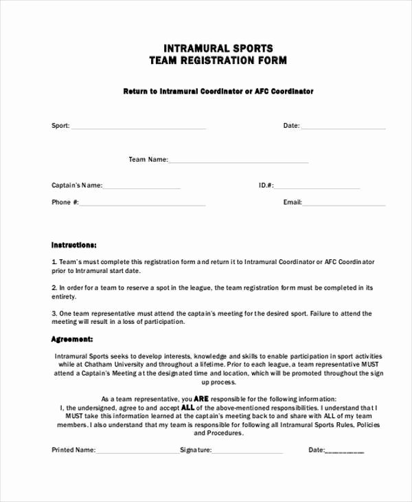 Free Sports Registration form Template Beautiful 8 Team Registration form Samples Free Sample Example