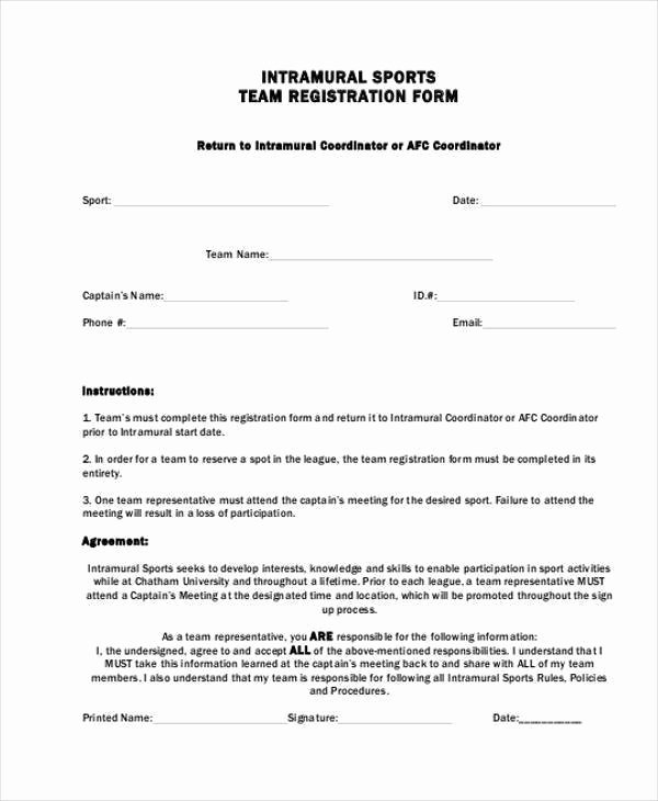Free Sports Registration form Template Best Of Sports Registration forms Template Free Download