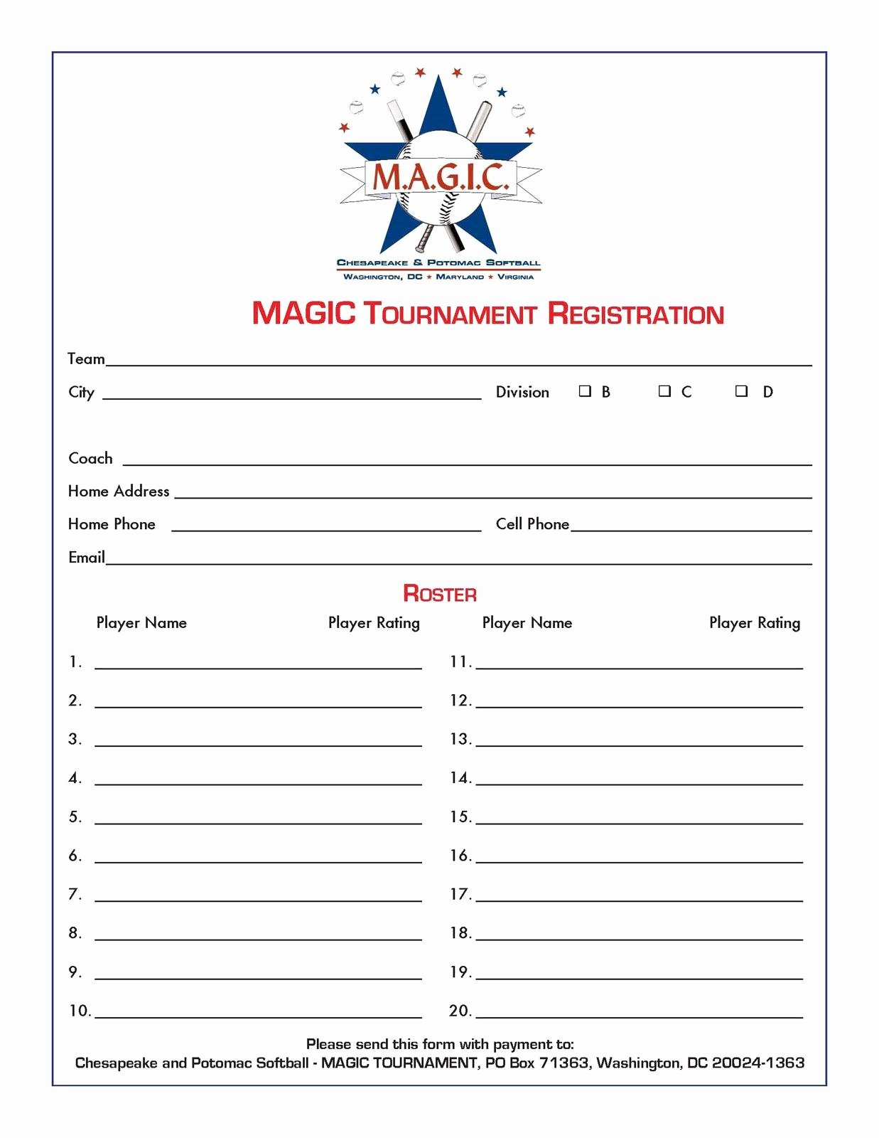 Free Sports Registration form Template Elegant Magic tournament August 2011