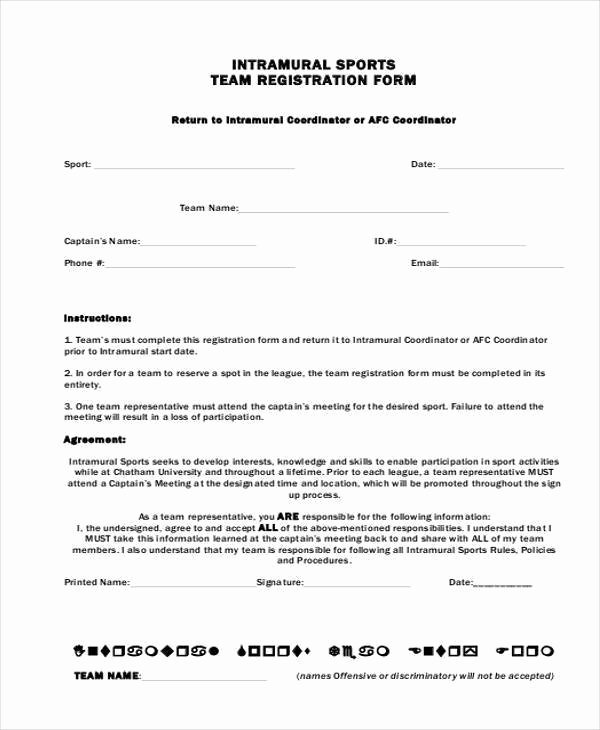 Free Sports Registration form Template Luxury Sports Registration forms Template Free Download