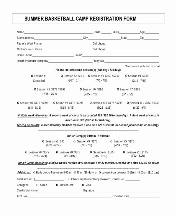 Free Sports Registration form Template New Downloads Sports Registration form Template Free