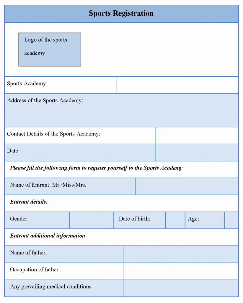 Free Sports Registration form Template New Pin Sports Registration form Template Free On Pinterest