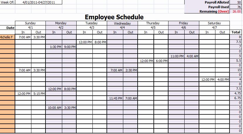 Free Staff Schedule Template Elegant 15 Free Employee Work Schedule Templates Schedule Templates