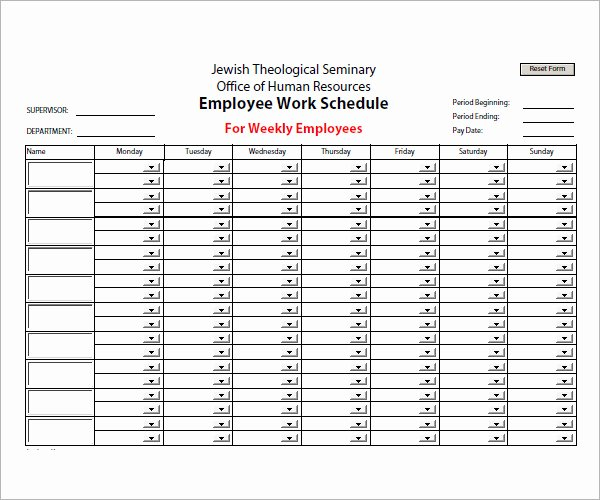 Free Staff Schedule Template Lovely Employee Schedule Template 5 Download Free Documents In