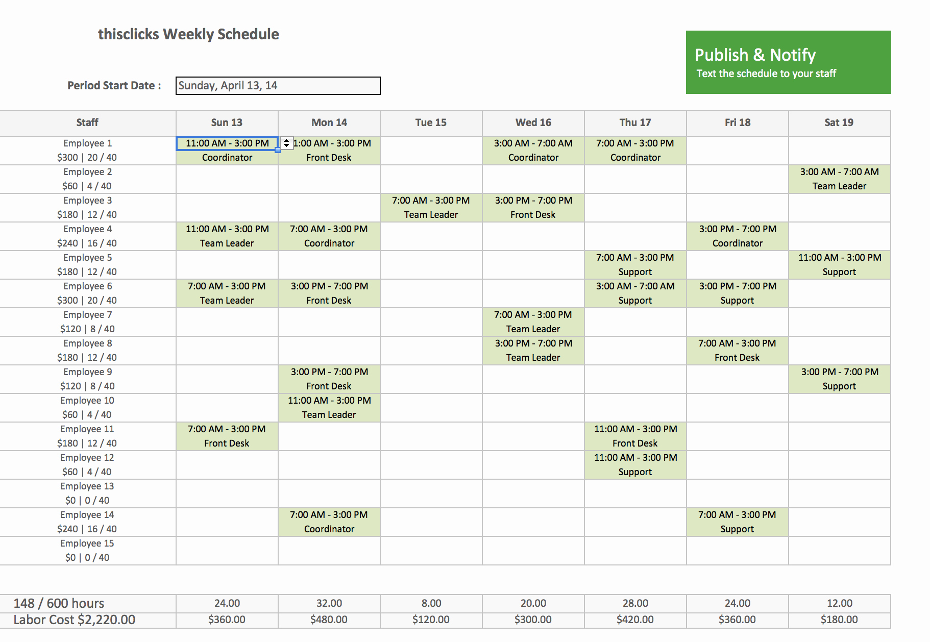 Free Staff Schedule Template Lovely Free Excel Template for Employee Scheduling