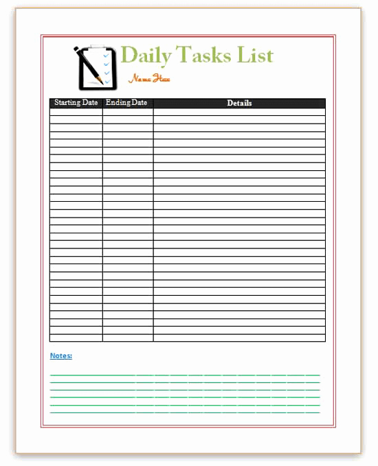 Free Task List Template Beautiful Pin Word Templates Daily Planner Templates