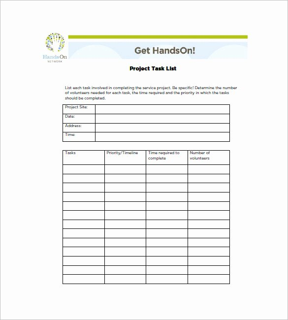 Free Task List Template Best Of Project Task List Template – 10 Free Sample Example