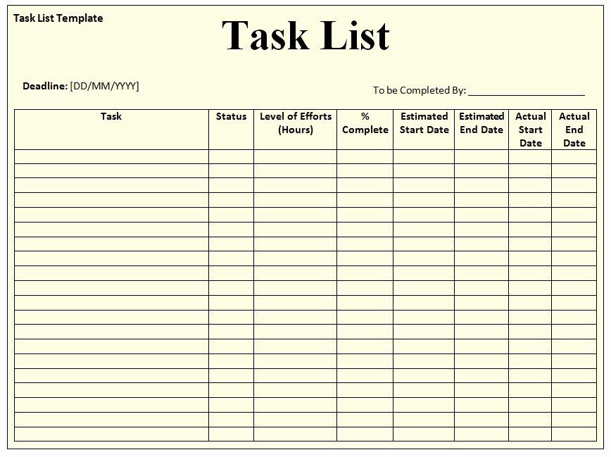 Free Task List Template Fresh Task List Templates Documents