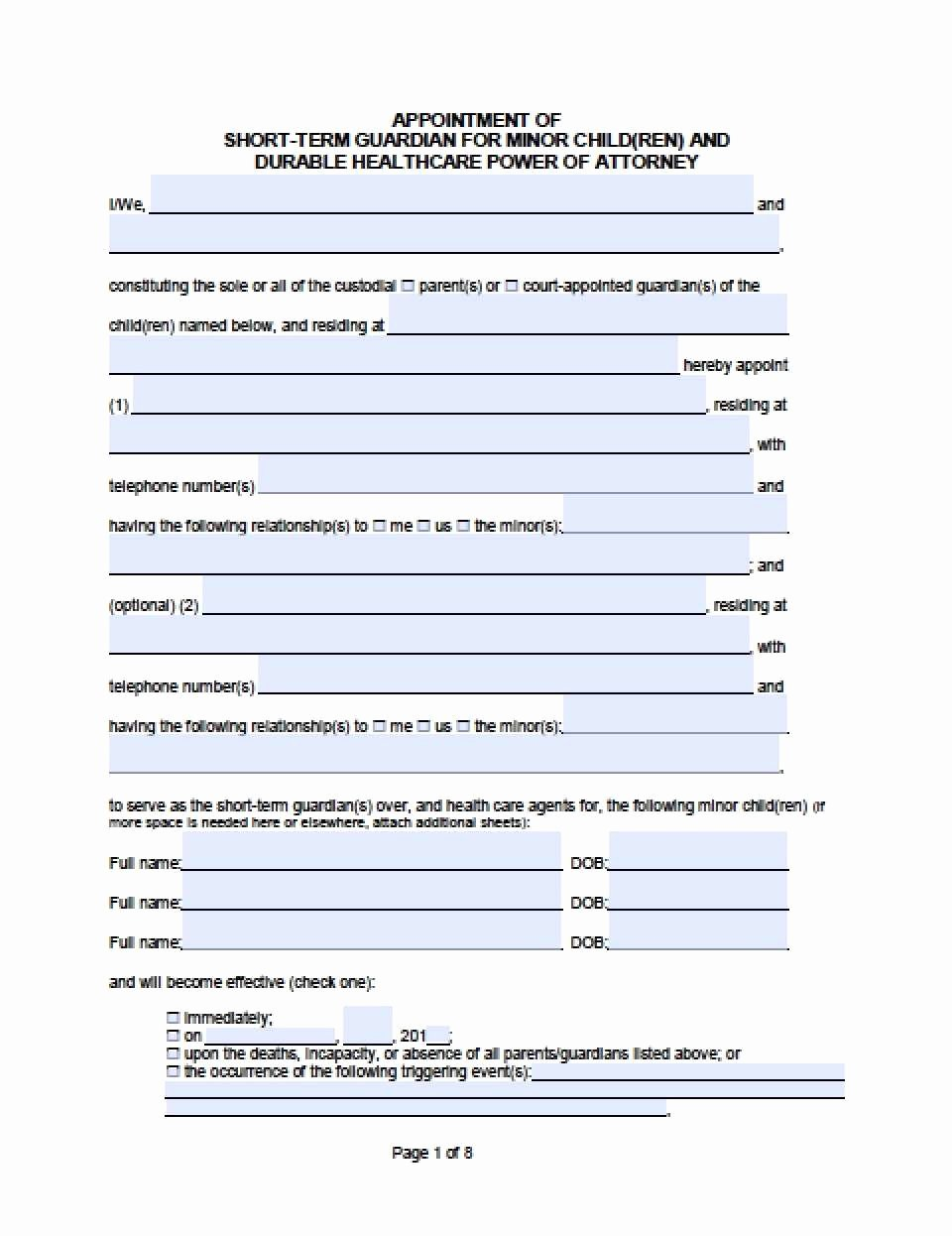Free Temporary Guardianship form Template Awesome Temporary Guardianship Agreement form California Excellent