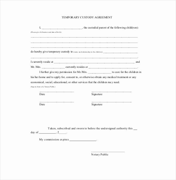 Free Temporary Guardianship form Template Beautiful Custody Agreement Template – 10 Free Word Pdf Document