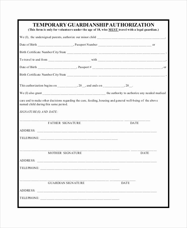 Free Temporary Guardianship form Template Best Of 10 Sample Temporary Guardianship forms – Pdf