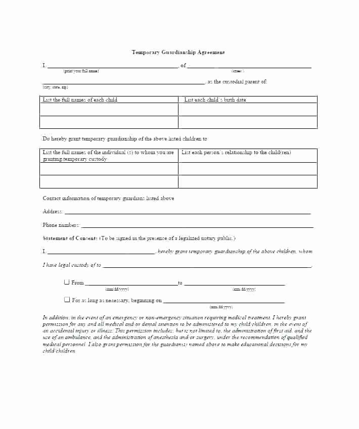 Free Temporary Guardianship form Template Best Of Guardian Letter Template Temporary Guardianship Letter