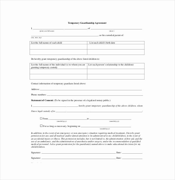 Free Temporary Guardianship form Template Elegant Custody Agreement Template – 10 Free Word Pdf Document