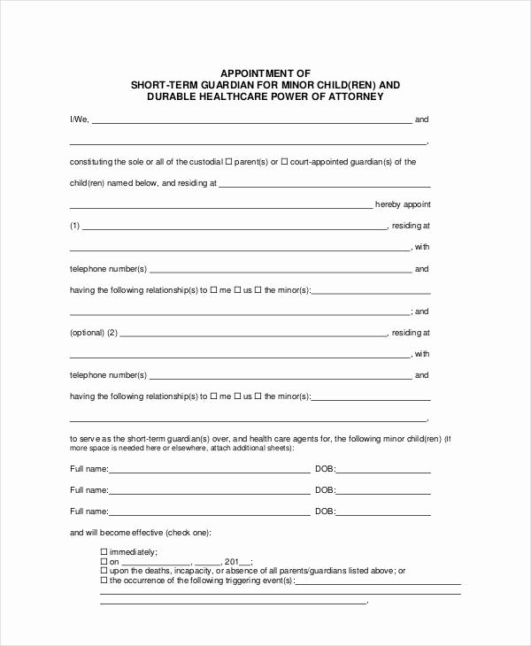 Free Temporary Guardianship form Template Inspirational Guardianship forms 9 Free Pdf Word