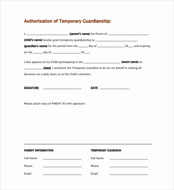 Free Temporary Guardianship form Template Inspirational Sample Temporary Guardianship form 9 Download Documents
