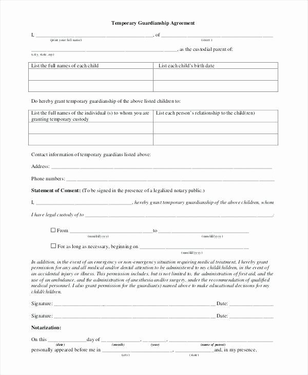 Free Temporary Guardianship form Template Luxury Sample Notarized Letter for Temporary Guardianship