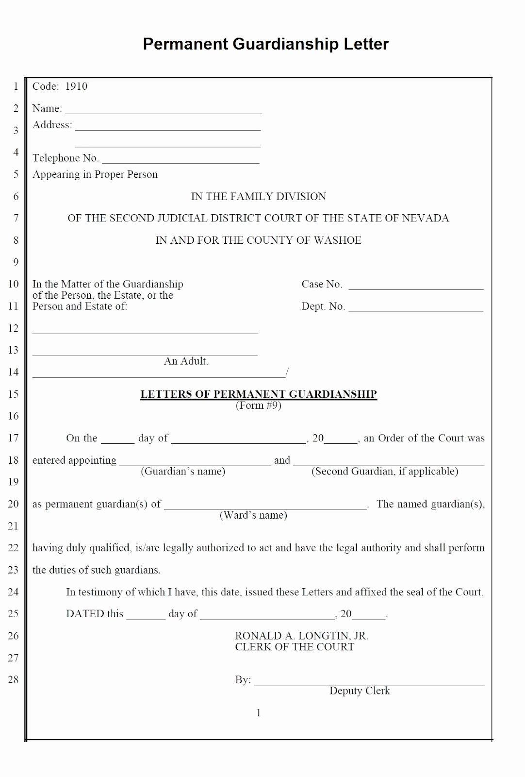 Free Temporary Guardianship form Template Unique Guardianship Letter Template Sample