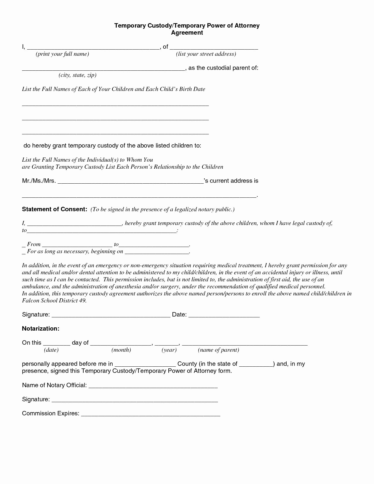 Free Temporary Guardianship form Template Unique Temporary Custody Letter Template Examples