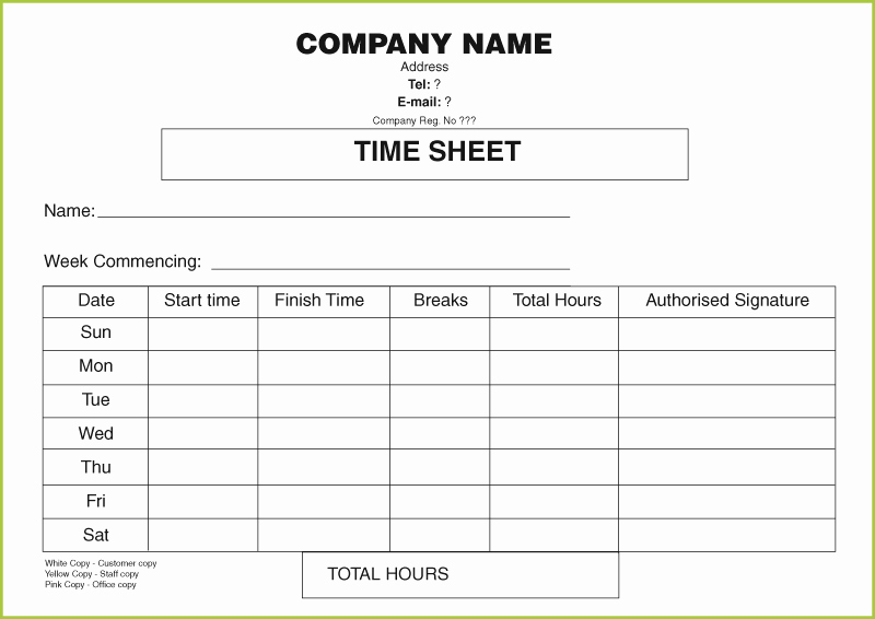 Free Time Sheet Template Awesome Timesheet Books Printed From £75 with Our Free Time Sheet