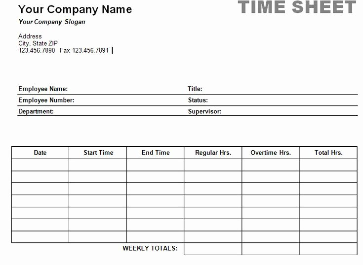 Free Time Sheet Template Beautiful Free Printable Timesheet Templates