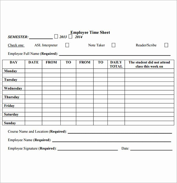 Free Time Sheet Template Elegant Employee Timesheet Sample 11 Documents In Word Excel Pdf