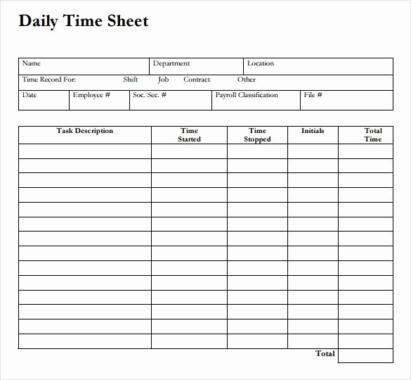 Free Time Sheet Template Fresh 12 Daily Timesheet Templates Free Sample Example format