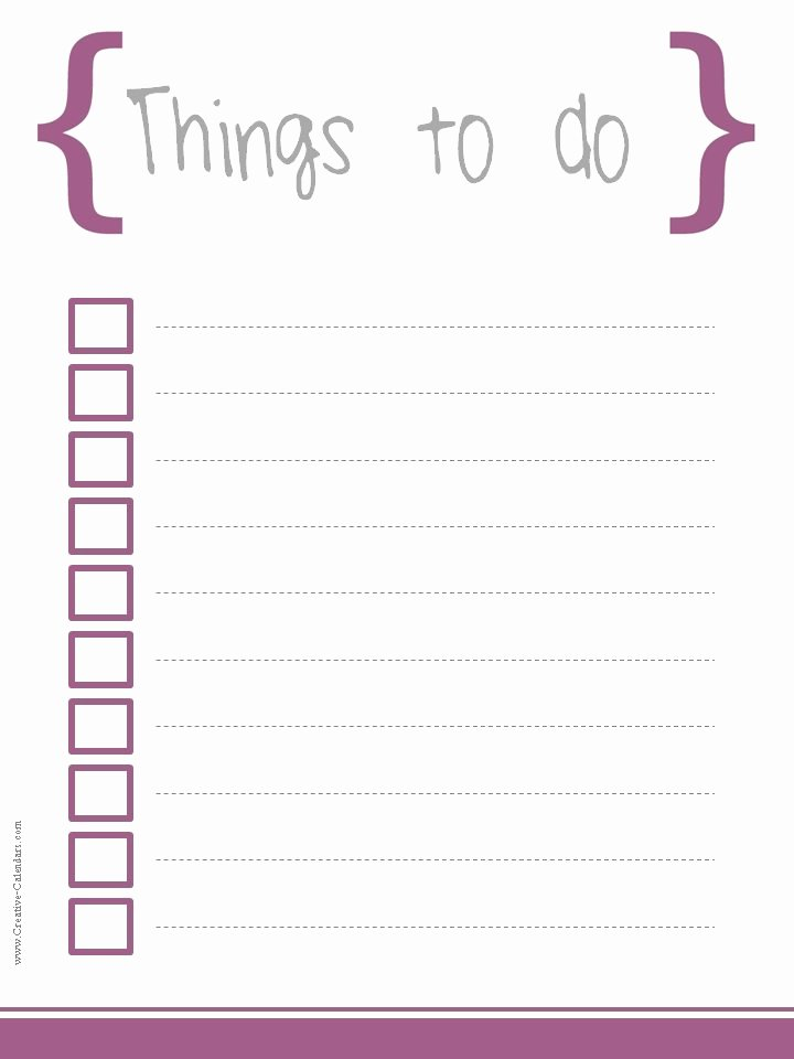 Free to Do List Template New to Do List Template