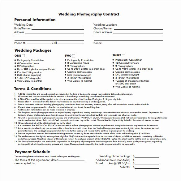 Free Wedding Photography Contract Template Awesome 20 Wedding Contract Templates to Download for Free