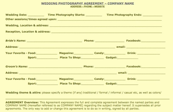 Free Wedding Photography Contract Template Awesome Free Wedding Portrait Mercial Contract Samples