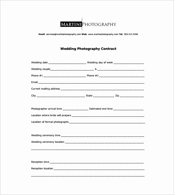 Free Wedding Photography Contract Template Awesome Graphy Contract 9 Download Free Documents In Word Pdf