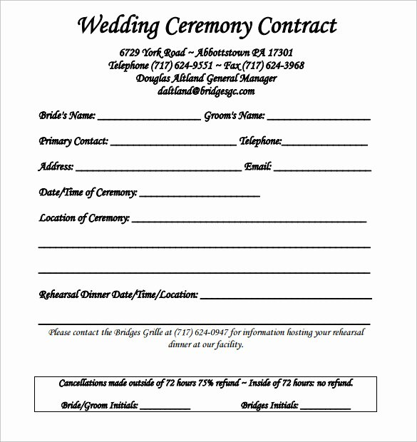 Free Wedding Photography Contract Template Awesome Wedding Contract Template 24 Download Free Documents