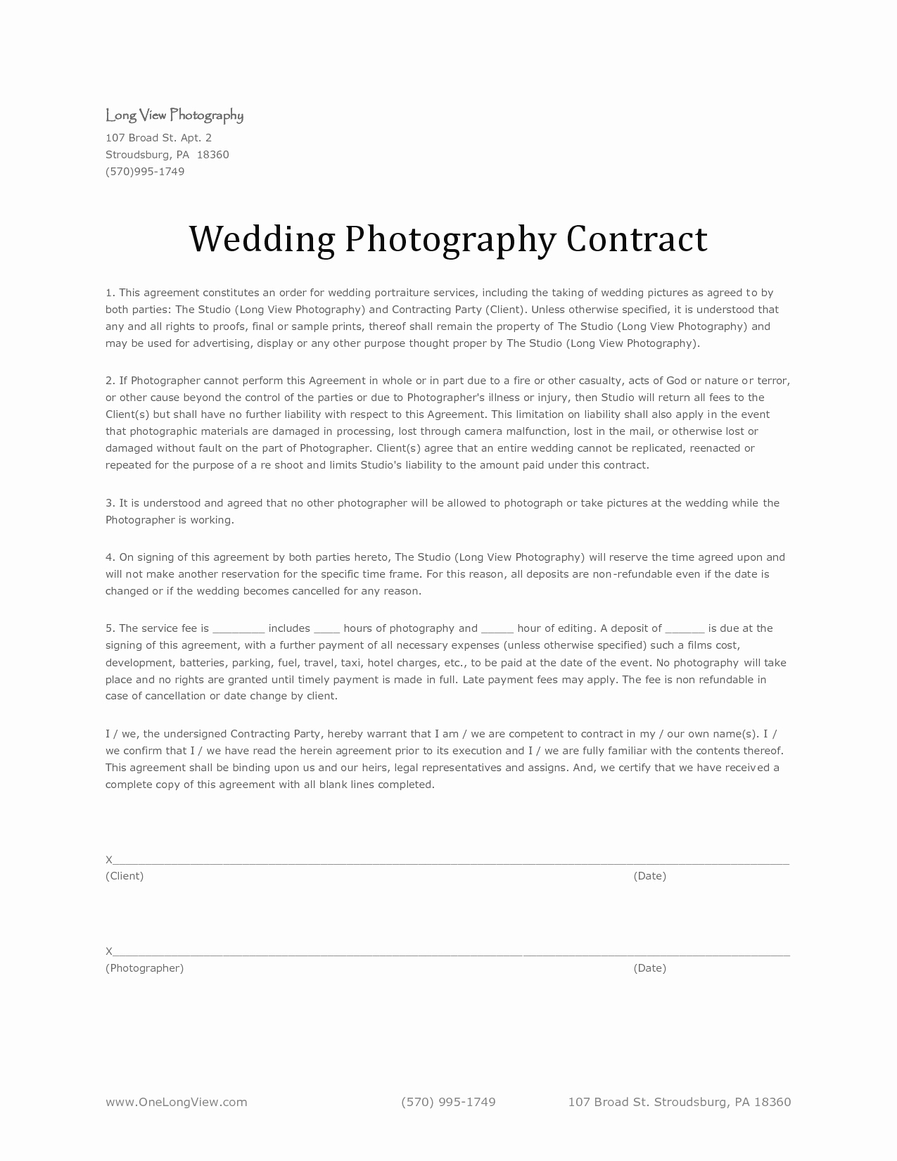 Free Wedding Photography Contract Template Awesome Wedding Graphy Agreement Free Printable Documents