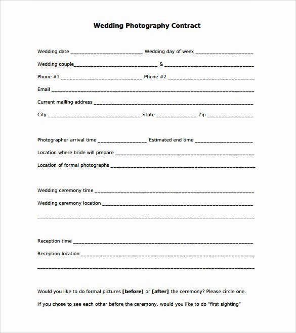Free Wedding Photography Contract Template Inspirational 21 Wedding Contract Samples