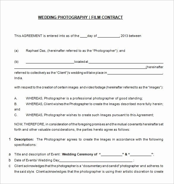 Free Wedding Photography Contract Template Inspirational Free Download Wedding Graphy Contract Templat 20