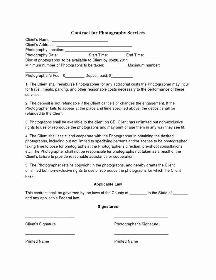 Free Wedding Photography Contract Template Inspirational Free Printable Wedding Graphy Contract Template form