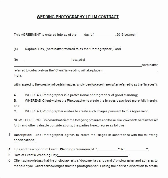 Free Wedding Photography Contract Template Inspirational Graphy Contract Template – 20 Free Word Pdf