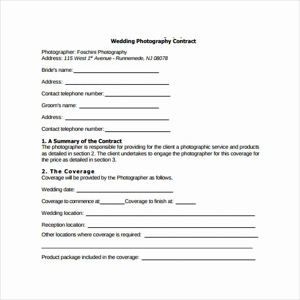 Free Wedding Photography Contract Template Lovely 14 Wedding Graphy Contract Templates to Download