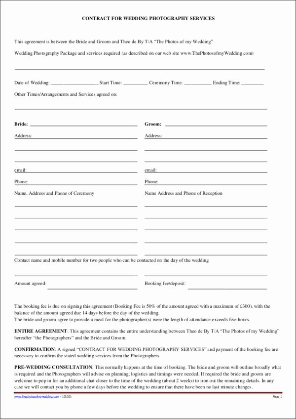 Free Wedding Photography Contract Template Lovely 19 Graphy Contract Templates