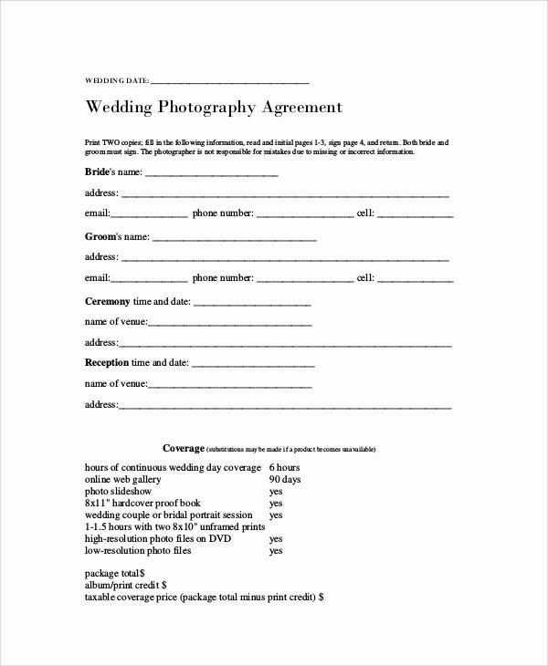 Free Wedding Photography Contract Template Lovely 7 Graphy Agreement Contract Samples